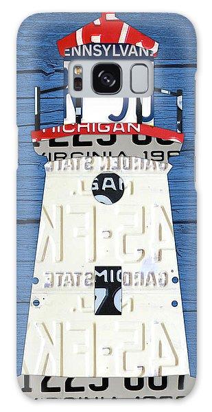 Lighthouse Galaxy Case - Cheboygan Crib Lighthouse Michigan Vintage License Plate Art On Wood by Design Turnpike