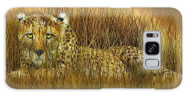 Cheetah - In The Wild Grass Galaxy Case by Carol Cavalaris