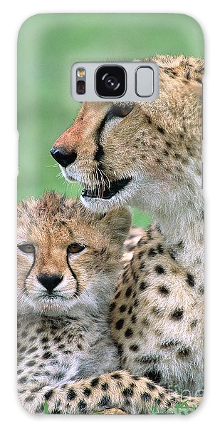 Galaxy Case featuring the photograph Cheetah Mother And Cub by Yva Momatiuk John Eastcott
