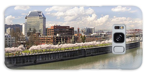 Cherry Blossom Along Portland Oregon Waterfront Panorama Galaxy Case