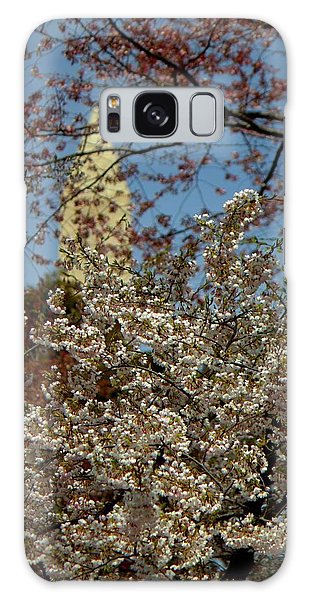 Cherry Blossoms And The Monument Galaxy Case