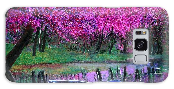 Cherry Blossoms By The Lake Galaxy Case