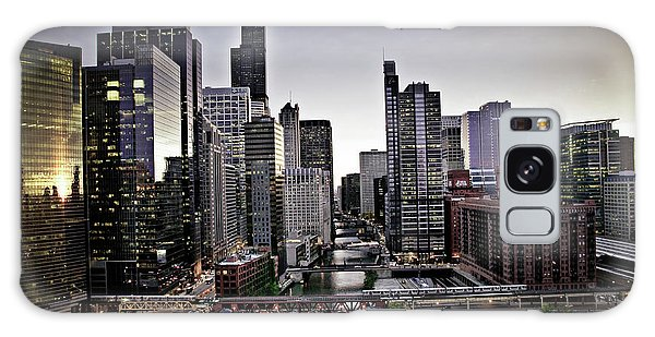 Chicago At Dusk Galaxy Case by Linda Matlow