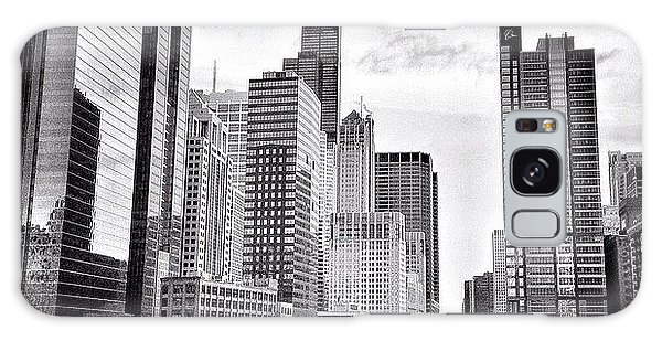 Chicago River Buildings Black And White Photo Galaxy Case