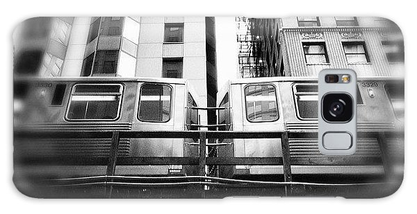 Transportation Galaxy Case - Chicago L Train In Black And White by Paul Velgos