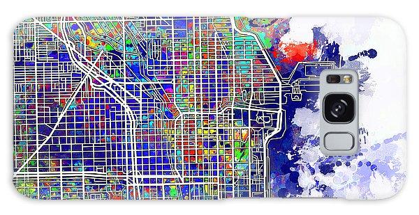 Vintage Chicago Galaxy Case - Chicago Map Color Splash by Bekim M