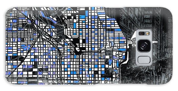 Vintage Chicago Galaxy Case - Chicago Map Drawing Collage 3 by Bekim M