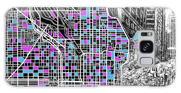 Vintage Chicago Galaxy Case - Chicago Map Drawing Collage 4 by Bekim M