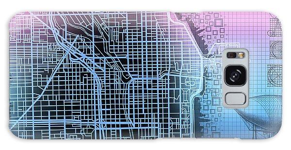 Vintage Chicago Galaxy Case - Chicago Map Gradient 2 by Bekim M