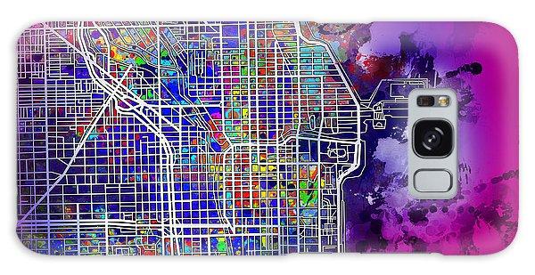 Vintage Chicago Galaxy Case - Chicago Map Purple Version by Bekim M