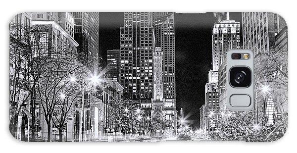 Chicago Michigan Avenue Light Streak Black And White Galaxy Case