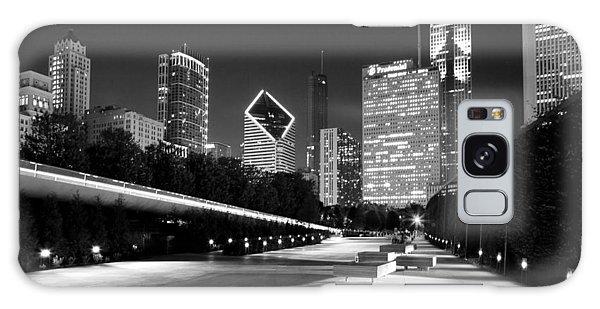 Chicago Night Skyline Black White Galaxy Case