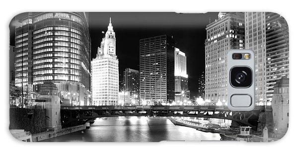 Chicago River Bridge Skyline Black White Galaxy Case