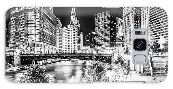 Chicago River Buildings At Night In Black And White Galaxy Case