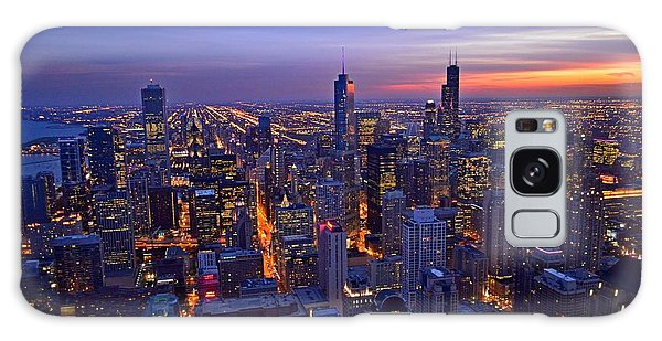 Chicago Skyline At Dusk From John Hancock Signature Lounge Galaxy Case