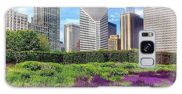 Beautiful Galaxy Case - Chicago Skyline At Lurie Garden by Paul Velgos