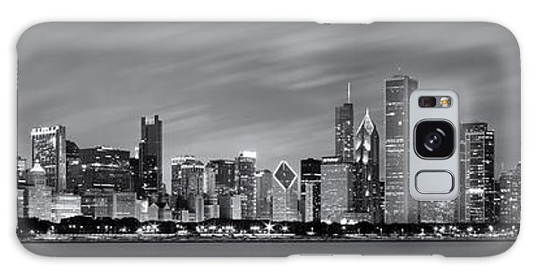 Chicago Art Galaxy Case - Chicago Skyline At Night Black And White Panoramic by Adam Romanowicz