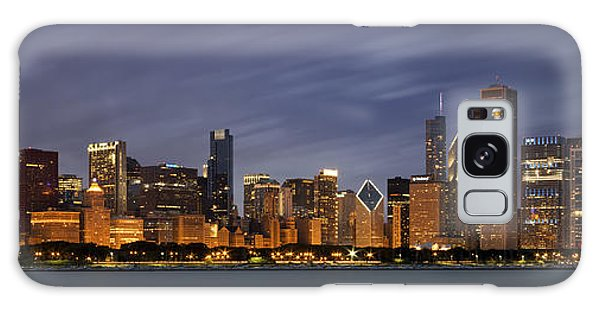 Chicago Art Galaxy Case - Chicago Skyline At Night Color Panoramic by Adam Romanowicz