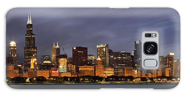 Lake Galaxy Case - Chicago Skyline At Night Color Panoramic by Adam Romanowicz