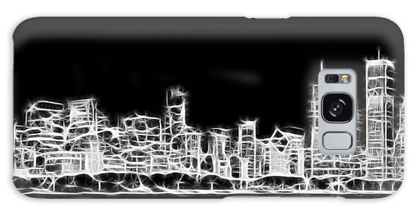 Chicago Skyline Fractal Black And White Galaxy Case