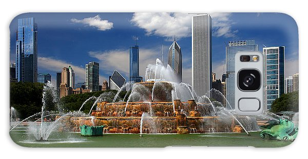 Chicago Skyline Grant Park Fountain Clouds Galaxy Case