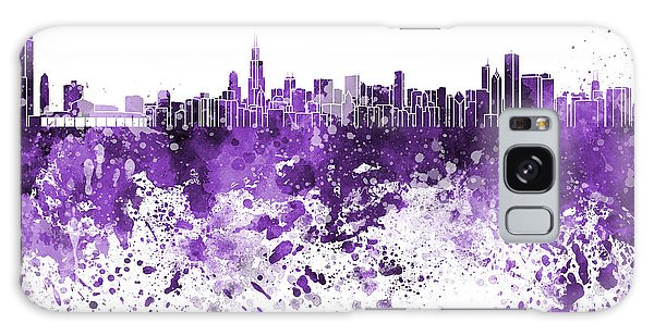 Vintage Chicago Galaxy Case - Chicago Skyline In Purple Watercolor On White Background by Pablo Romero