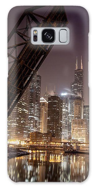 Chicago Skyline Over Chicago River Galaxy Case