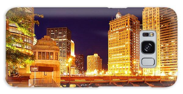 Chicago Skyline River Bridge Night Galaxy Case
