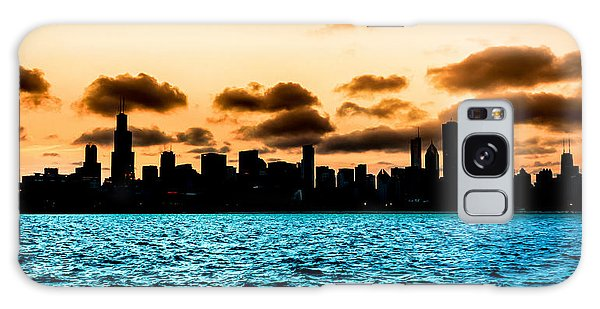 Chicago Skyline Silhouette Galaxy Case by Semmick Photo