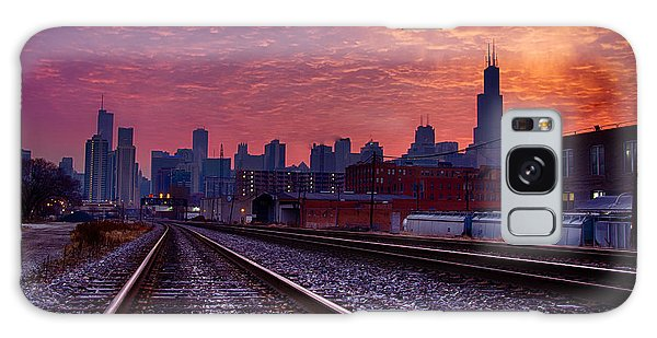 Chicago Skyline Sunrise December 1 2013 02 Galaxy Case