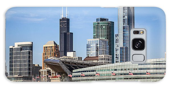 Chicago Skyline With Soldier Field And Sears Tower  Galaxy Case by Paul Velgos