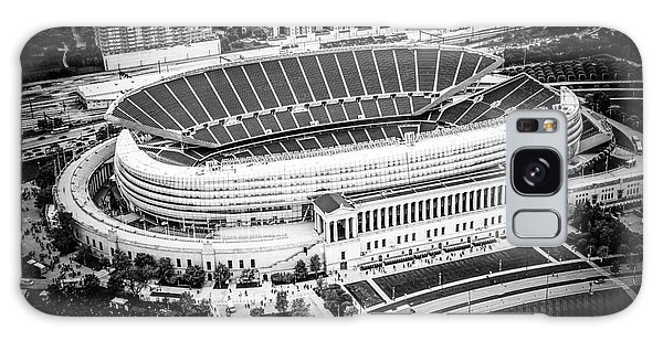 Chicago Soldier Field Aerial Picture In Black And White Galaxy Case