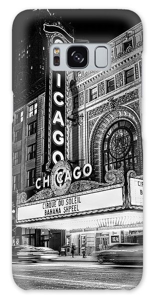 Chicago Theatre Marquee Sign At Night Black And White Galaxy Case