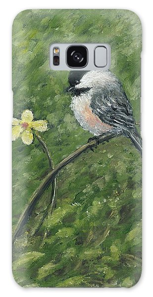 Chickadee And Yellow Flower Galaxy Case by Kathleen McDermott