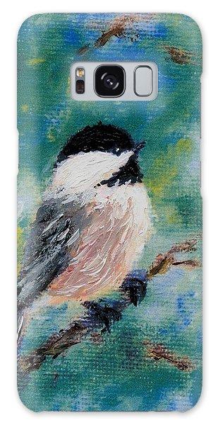 Chickadee Fine Art Card Brushstroke Enhanced Detail Print Galaxy Case