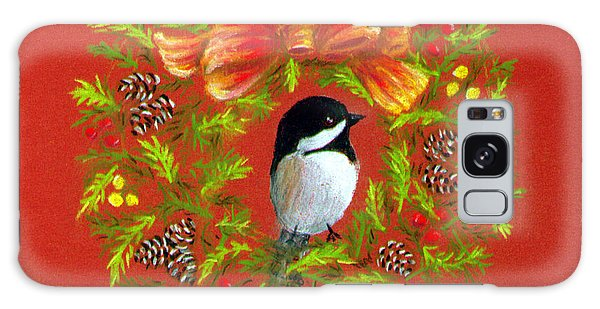 Chickadee Holiday Greeting Card Galaxy Case by Judy Filarecki