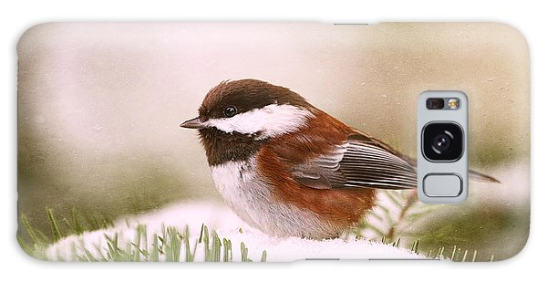 Chickadee In Snow Galaxy Case by Peggy Collins