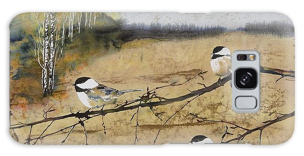 Chickadees And A Row Of Birch Trees Galaxy Case