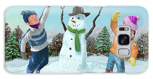 Children Playing In Snow Galaxy Case