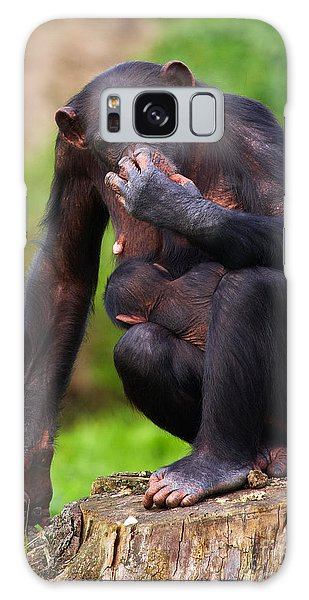 Chimp With A Baby On Her Belly  Galaxy Case