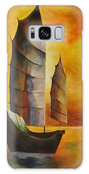 Chinese Junk In Ochre Galaxy Case by Tracey Harrington-Simpson