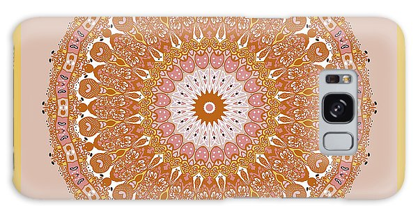 Galaxy Case featuring the digital art Chinese Kite Mandala Yellow Orange by Joy McKenzie