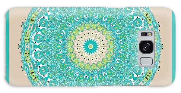 Galaxy Case featuring the digital art Chinese Kite Teal Mandala by Joy McKenzie