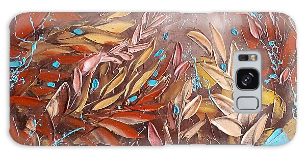 Chocolate And Turquoise Abstract Art Oil Painting By Ekaterina Chernova Galaxy Case