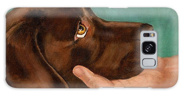 Chocolate Lab Galaxy Case - Chocolate Lab Head In Hand by Amy Reges