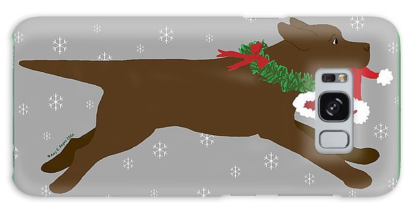 Chocolate Labrador Steals Santa's Hat Galaxy Case