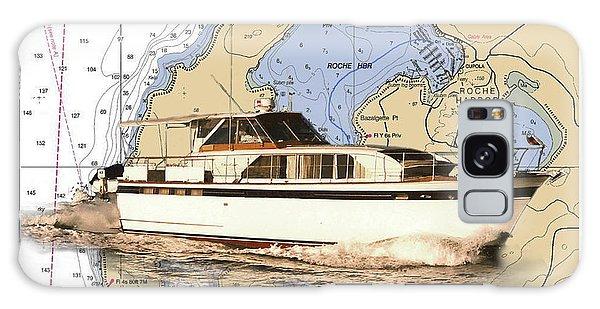 Motor Yacht Galaxy Case - Chris Craft On A Chart Of San Juan Islands Chart by Jack Pumphrey