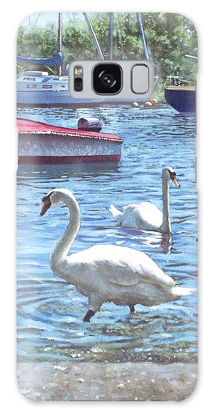 Christchurch Harbour Swans And Boats Galaxy Case