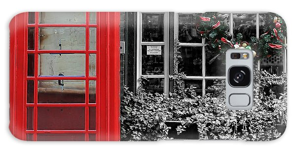 Christmas - The Red Telephone Box And Christmas Wreath IIi Galaxy Case