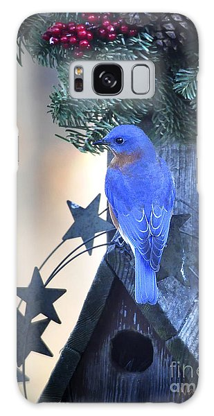 Christmas Bluebird Galaxy Case by Nava Thompson